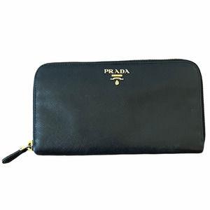 Prada Portafoglio + Portamon Saffiano Black Wallet